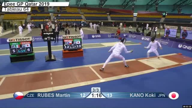 Watch RUBES Martin 13 GIF by Scott Dubinsky (@fencingdatabase) on Gfycat. Discover more gender:, leftname: RUBES Martin, leftscore: 13, rightname: KANO Koki, rightscore: 14, time: 00001631, touch: double, tournament: doha2019, weapon: epee GIFs on Gfycat