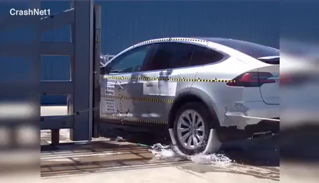 Watch 2017 Tesla Model X Pole Crash Test GIF on Gfycat. Discover more related GIFs on Gfycat