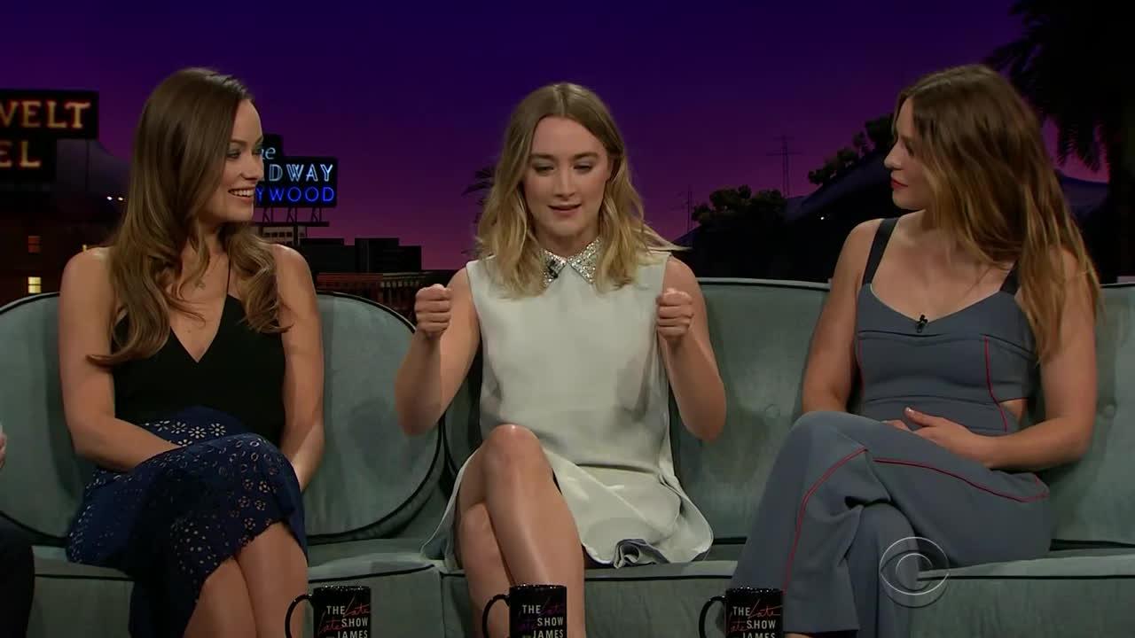 /r/talkshowgirls, SaoirseRonan, oliviawilde, /r/TalkShowGirls Olivia Wilde & Saoirse Ronan & Melissa Benoist GIFs