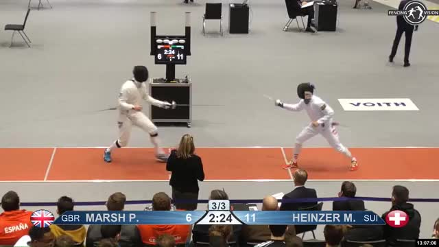 Watch MARSH P  f 7 GIF by Scott Dubinsky (@fencingdatabase) on Gfycat. Discover more gender: male, leftname: MARSH P  f, leftscore: 7, rightname: HEINZER M, rightscore: 12, time: 00011787, touch: double, tournament: heidenheim2019, weapon: epee GIFs on Gfycat
