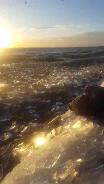 nature, Frozen ocean broken up by the waves looks a sea of glass GIFs