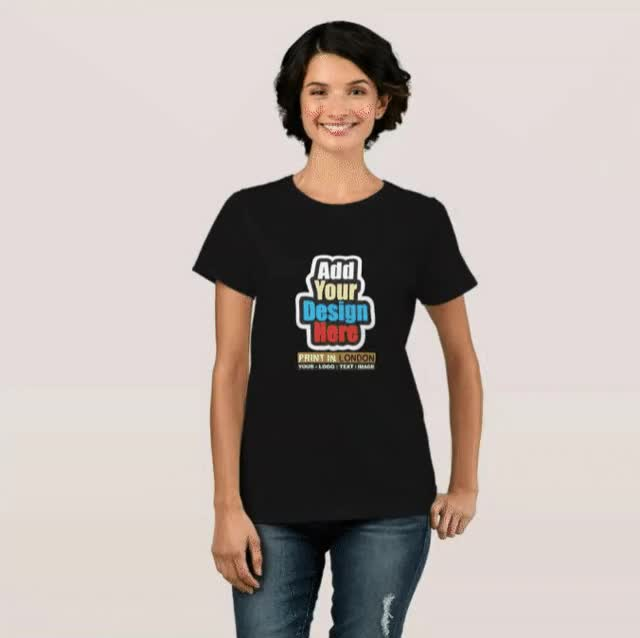 Watch and share Personalised Black Colour Women's T Shirt Printing London- Printing London GIFs by Print In London on Gfycat