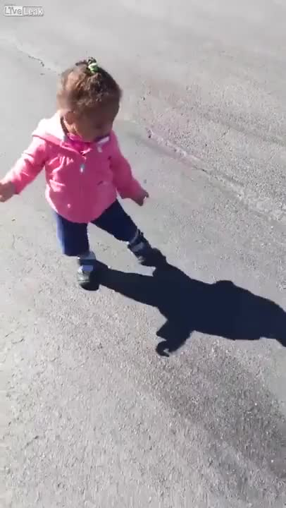Watch and share Little Girl Scared Of Her Own Shadow GIFs on Gfycat