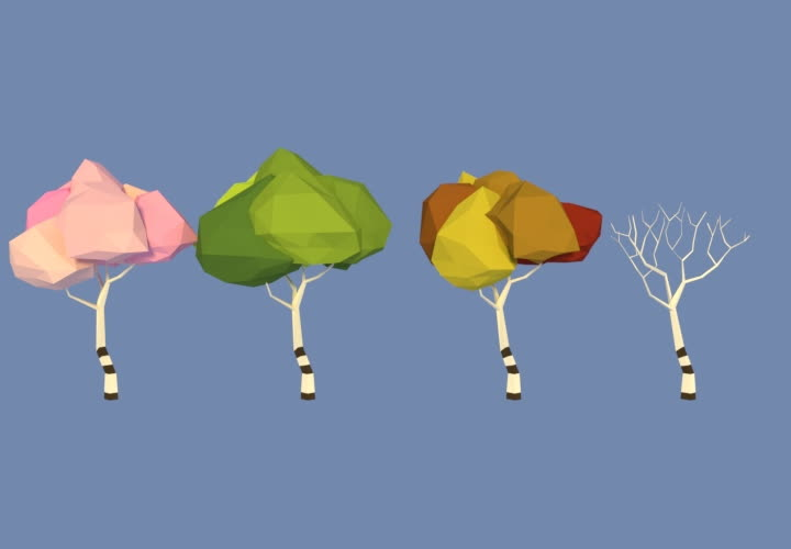 Low poly trees seasons GIFs