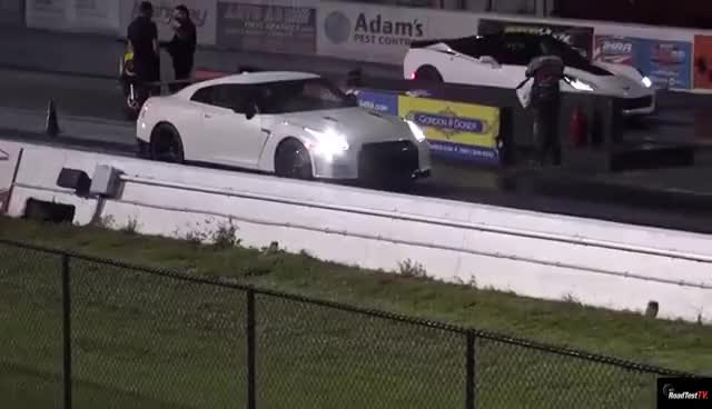 Watch 2016 NISMO GTR vs Supercharged C7 Corvette - 1/4 mile Drag Race Video - Road Test TV GIF on Gfycat. Discover more related GIFs on Gfycat