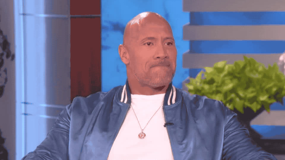 agree, confused, cource, dwayne, dwayne johnson, ellen, frances, johnson, mcdormand, not, of, of course, ok, okay, show, sure, uncertain, yay, yeah, yes, Dwayne Johnson - Of course GIFs