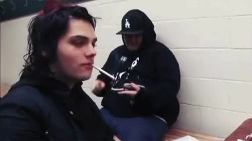 Watch Gerard Smoking GIF on Gfycat. Discover more band, bands, black parade, bob bryar, danger days, frank iero, gerard way, i brought you my bullets you brought me your love, life on the murder scene, lotms, mikey way, my chemical romance, ray toro, revenge era, smoking, three cheers for sweet revenge GIFs on Gfycat
