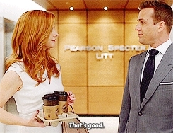 **, donna paulsen, harvey specter, spoilers, suits, suitsedit, heart suits GIFs