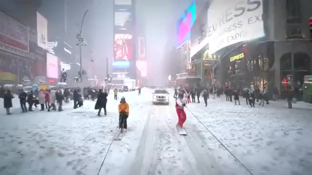 Watch and share Snowboarding In Times Square GIFs on Gfycat