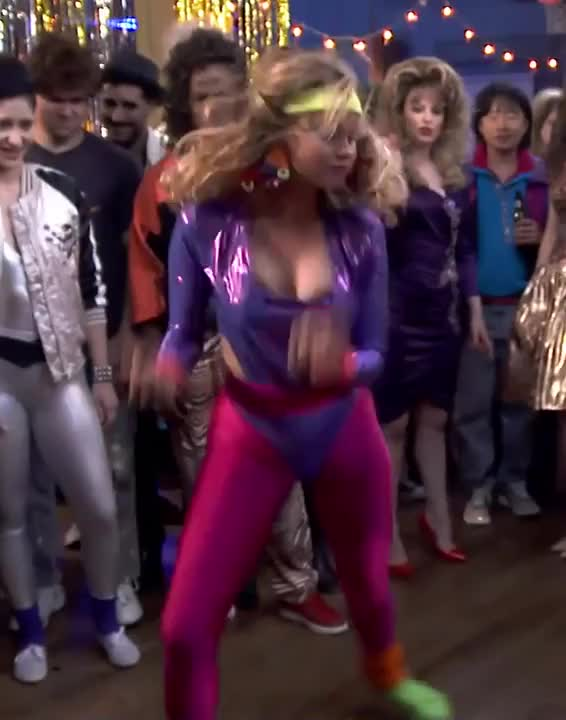 debby Ryan bouncing around in a slutty leotard