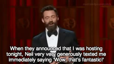 Watch Tonys 2014. GIF on Gfycat. Discover more broadway, funny, hedwig and the angry inch, host, hugh jackman, i love these two, joke, lol, masterofpossimpible, music hall, musical, my gifs, my stuff, neil patrick harris, neily baby, new york, new york city, nph, ny, nyc, radio city, radio city music hall, thatre, the tony awards, the tonys, the tonys 2014, tony awards, tonys, tonys 2014, wtf GIFs on Gfycat