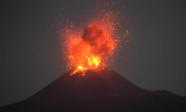 indonesia, nature, volcano, Watch As Indonesia's Anak Krakatoa Erupts With Lava and Lightning GIFs