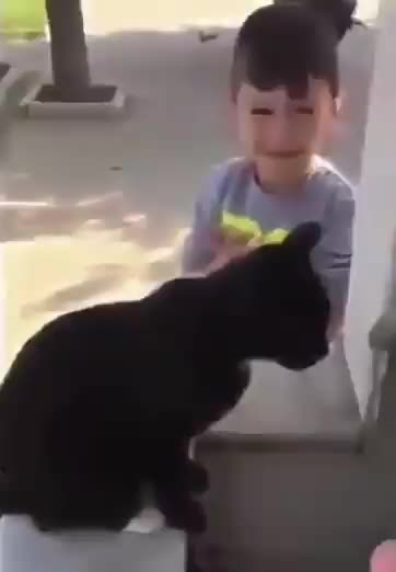 Kind kid cupping water so a cat can drink from a fountain GIFs