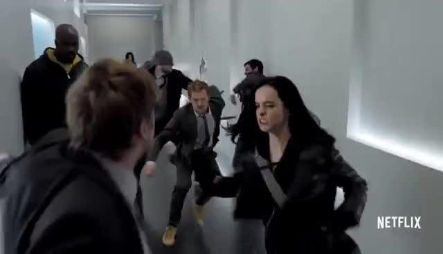 Defenders Hallway Fight GIFs