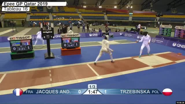 Watch JACQUES ANE 0 GIF by Scott Dubinsky (@fencingdatabase) on Gfycat. Discover more gender:, leftname: JACQUES ANE, leftscore: 0, rightname: TRZEBINSKA, rightscore: 2, time: 00027061, touch: right, tournament: doha2019, weapon: epee GIFs on Gfycat