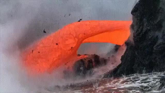 nature, Heavy Lava Flow Off The Coast Of Hawaii GIFs