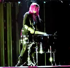 Watch don't be afraid to care GIF on Gfycat. Discover more animation, demi, demi lovato, drums, gif, neon lights tour, pinkvato GIFs on Gfycat