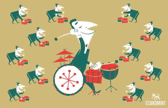 Watch 12 Drummers Drumming GIF by Ecard Mint (@ecardmint) on Gfycat. Discover more Christmas, Drummers, Drumming, Drums, Looped, Xmas GIFs on Gfycat