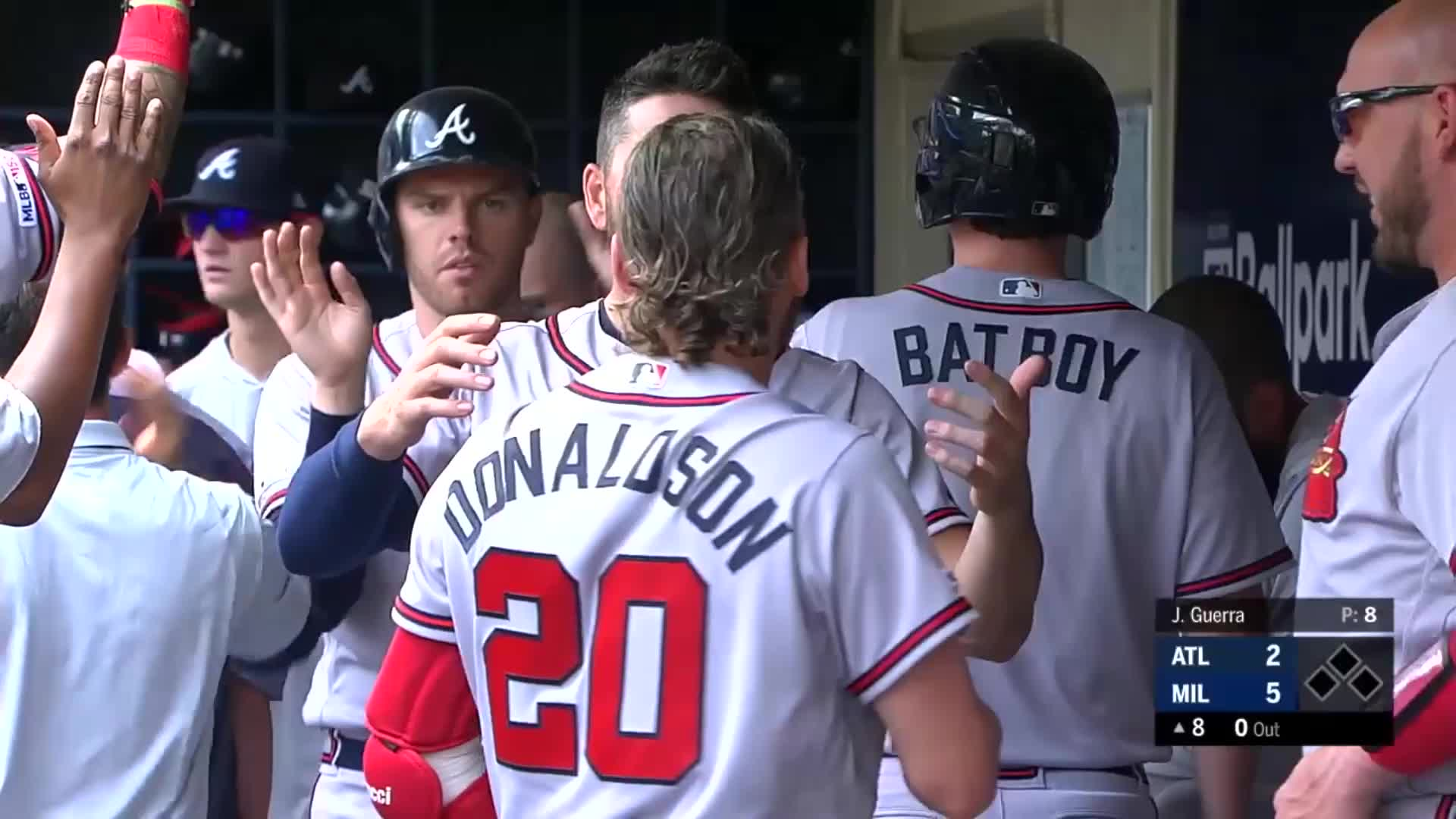 atlanta, baseball, braves, Donaldson and Joyce celebrate home run, Freeman high fives Flowers. GIFs