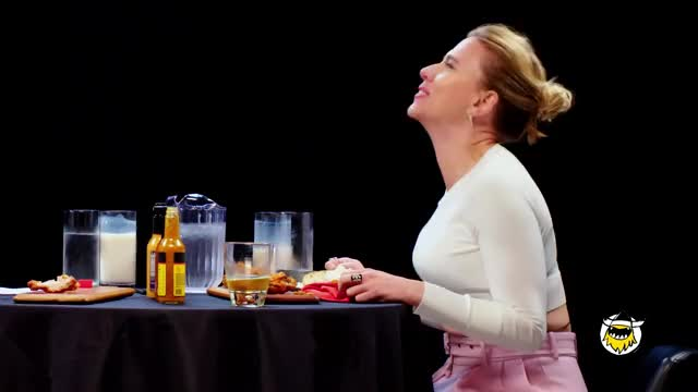 Watch and share Scarlett Johansson Tries To Not Spoil Avengers While Eating Spicy Wings Hot Ones Trim (3) GIFs on Gfycat