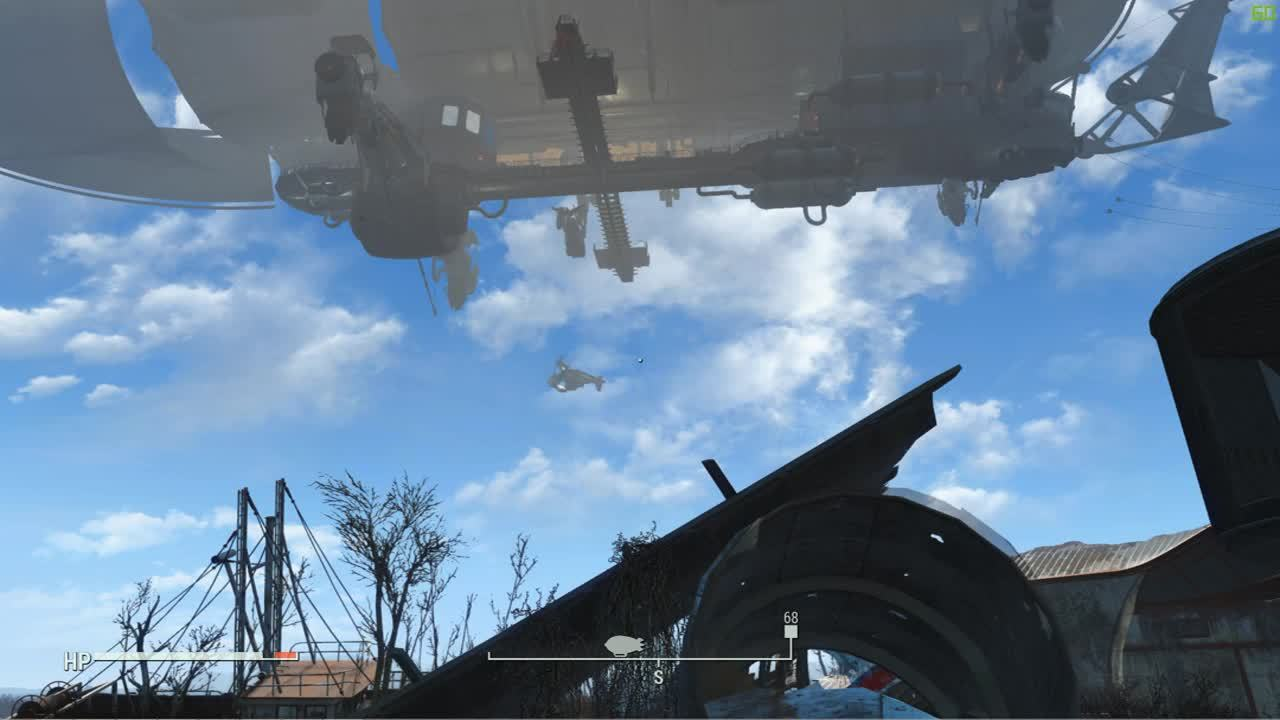 Fallout, Fallout 4, FalloutMods, Crashing vertibird! Lets see what happens GIFs