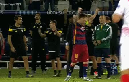 eyebleach, footbaww, Leo Messi gets some love at the final whistle of the Super Cup. (reddit) GIFs