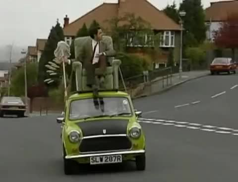 Watch and share Mr. Bean Video - Mr. Bean Driving On Roof Of A Car GIFs on Gfycat