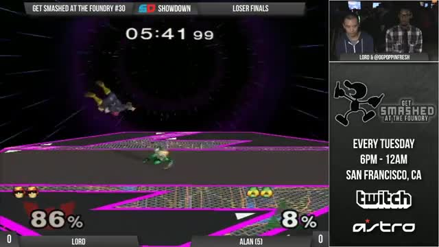 Watch Get Smashed at the Foundry #30 - Loser Finals: Lord (C. Falcon) vs Alan (Peach) GIF on Gfycat. Discover more smashgifs GIFs on Gfycat