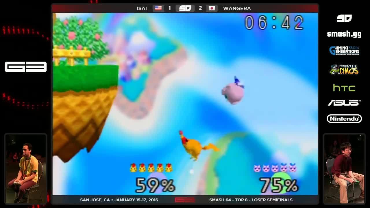 gaming, showdowngg, tournaments, GENESIS 3 - Isai (Fox) vs Wangera (Jigglypuff) - SSB64 - Losers Semis GIFs