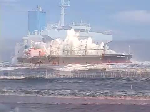 HeavySeas, heavyseas, The bulk freighter Ocean Breeze being pounded after running aground (reddit) GIFs