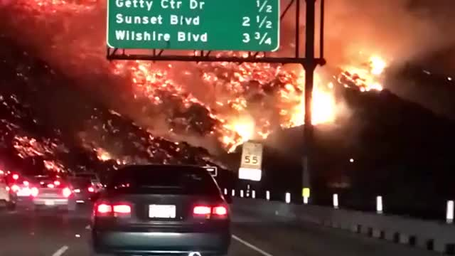 Watch Highway to Hell - Driver films terrifying wildfire in Los Angeles GIF on Gfycat. Discover more California, Los Angeles, Skirball Fire, wildfires GIFs on Gfycat