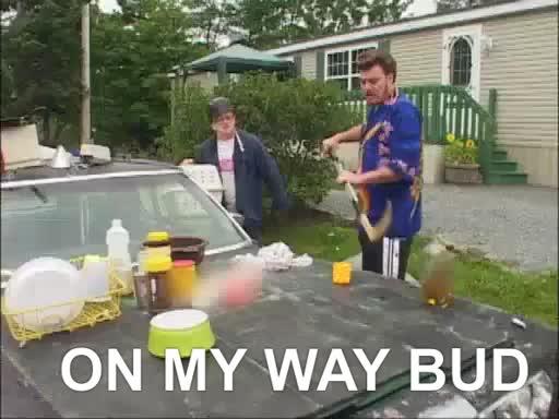 canada,, car,, clear,, comedy,, hockey stick,, junk,, omw, on my way, on my way bud,, ricky, tpb,, trailer park boys,, trash,, On my way bud GIFs