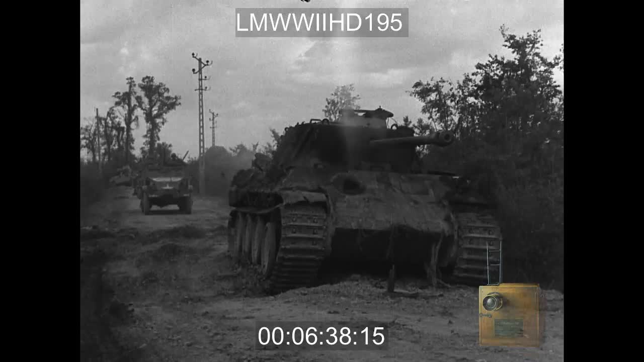 Two destroyed German panthers GIFs