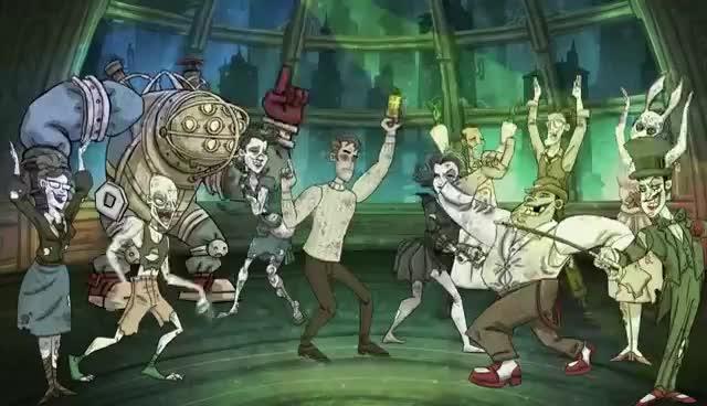 awesome, bioshock, game, hard, lol, party, Bioshock PARTY HARD GIFs