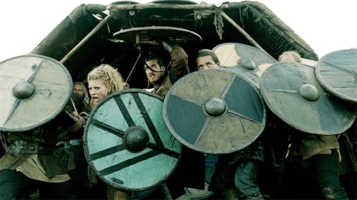 charge, gif, history, lagertha, maiden, norse, odin, raid, shield, shieldmaiden, television, thor, tv, vikings, warriors,  GIFs