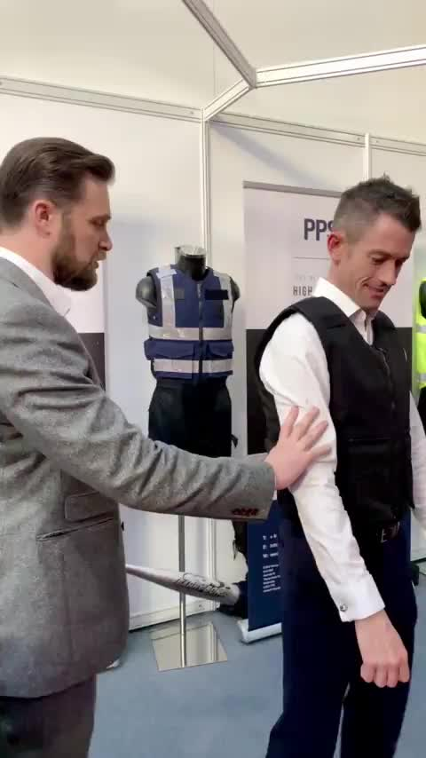 Watch and share Stab Proof Vest Demo At The International Security Expo London GIFs on Gfycat