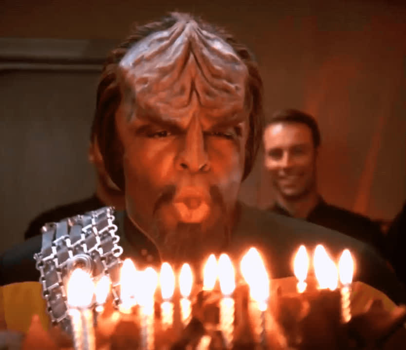 birthday cake, blow out candles, celebrate, happy birthday, michael dorn, star trek the next generation, worf, Worf Blowing Out Candles GIFs