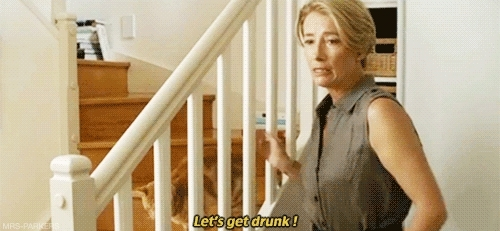 celia imrie, comedy, drinks, drunk, emma thompson, lets get drunk, love punch, me, mine, night, pierce brosnan, the love punch, timothy spall, uni, vodka, Emma Thompson is me, I am Emma Thompson. GIFs