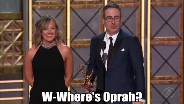 Watch John Oliver misses Oprah. GIF by @tsubaki on Gfycat. Discover more EmmyAwards2017, Emmys, Emmys2017, John Oliver GIFs on Gfycat