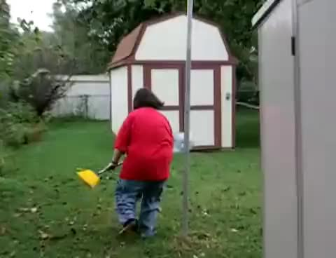 crackheads fighting with brooms