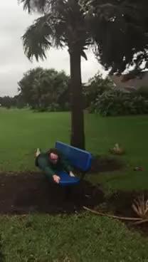 Watch and share Hurricane Matthew - Man Blown Away GIFs on Gfycat