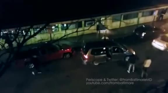 Baltimore fight turns into a driver ramming cars & people GIFs