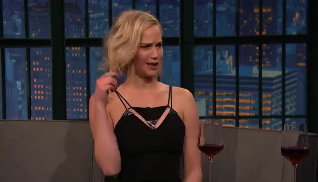 jennifer lawrence, late night with seth meyers, Jennifer Lawrence Just Shot a Sex Scene with Chris Pratt - Late Night with Seth Meyers GIFs