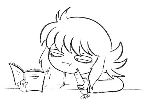 crappy gifs, food, kurama, they're eating a tea cake and carrot respectively, yu yu hakusho, yukina, yyh, Doo doot doo... GIFs