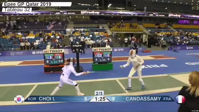 Watch CHOI L 6 GIF by Scott Dubinsky (@fencingdatabase) on Gfycat. Discover more gender:, leftname: CHOI L, leftscore: 6, rightname: CAN DASSAMY, rightscore: 9, time: 00021454, touch: left, tournament: doha2019, weapon: epee GIFs on Gfycat