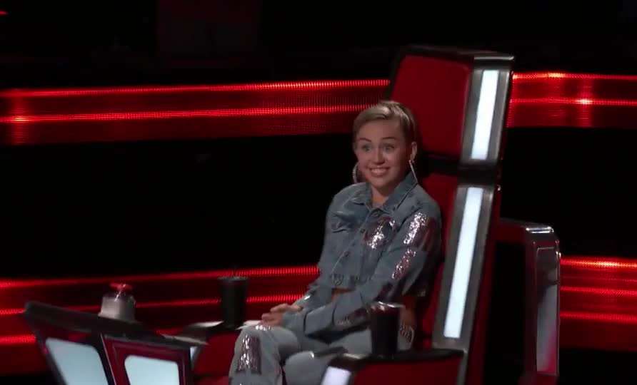 audition, blind, celebrate, cyrus, happy, hey, miley, miley cyrus, surprise, tada, turn, voice, The Voice 2017 Blind Audition GIFs