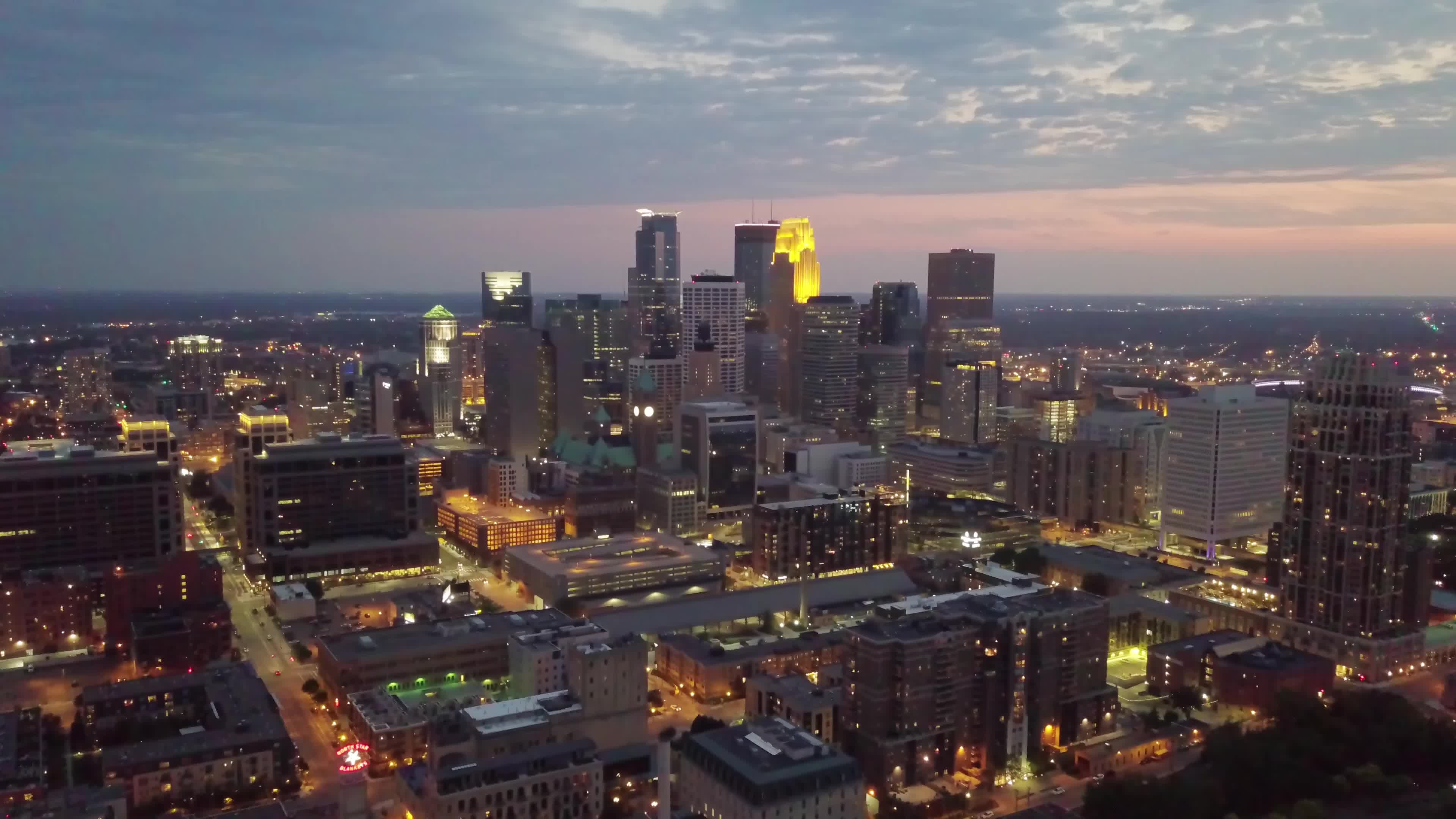 4k, downtown, drone, long exposure, mavic, minneapolis, night, sunset, Minneapolis in 4K - Aerial view - Golden Hour GIFs