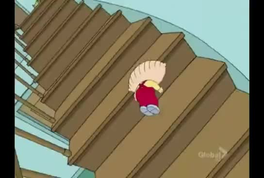 Watch and share Stewie Falls Down Stairs GIFs on Gfycat