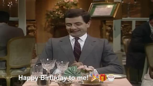 Happy birthday to me! mister bean english comedy Rowan atkinson Me party MR BEAN Comedy Birthday at a Restaurant GIF