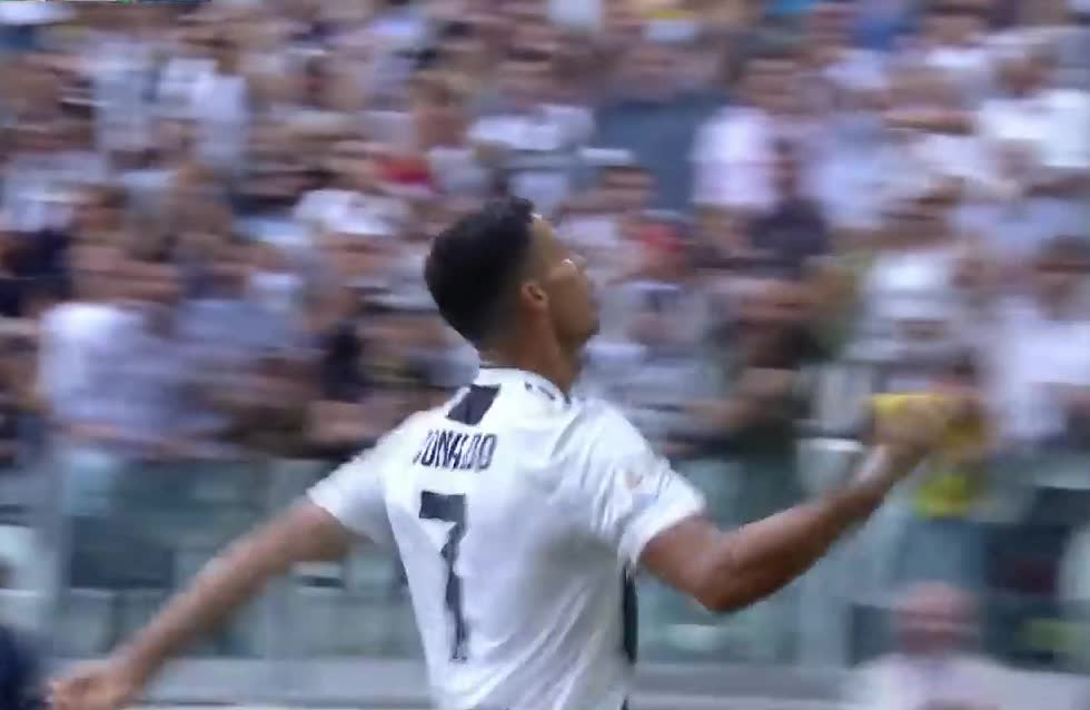 awesome, celebrate, celebration, cristiano, dance, excited, football, gesture, goals, juventus, move, proud, ronaldo, score, signature, soccer, victory, yay, yeah, yes, Cristiano Ronaldo scores first two goals for Juventus GIFs